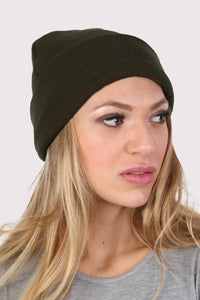 Plain Knitted Beanie Hat in Khaki Green 1