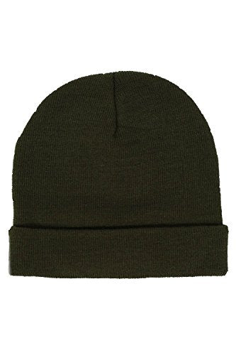 Plain Knitted Beanie Hat in Khaki Green