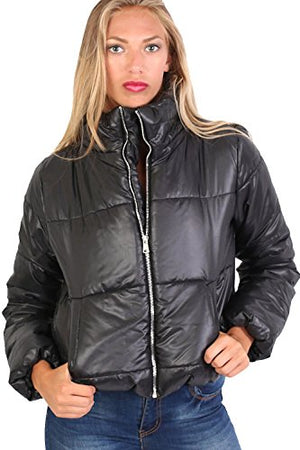 Cropped Puffer Jacket in Black