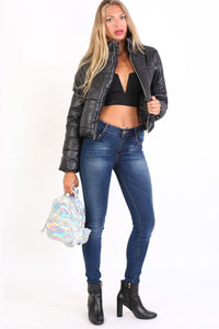 Cropped Puffer Jacket in Black 4