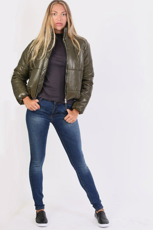 Cropped Puffer Jacket in Khaki Green 4