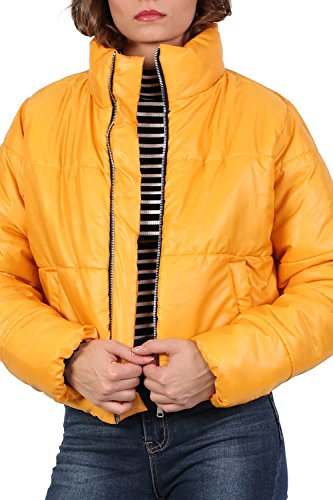 Cropped Puffer Jacket in Mustard Yellow