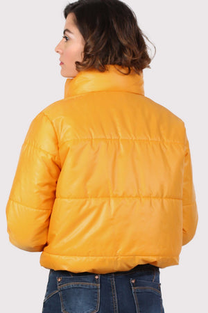 Cropped Puffer Jacket in Mustard Yellow 2