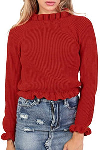 Frill Neck Long Sleeve Knitted Jumper in Red