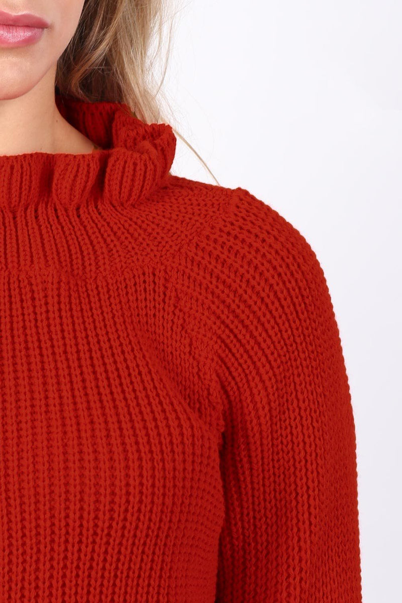 Frill Neck Long Sleeve Knitted Jumper in Red 4