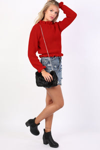 Frill Neck Long Sleeve Knitted Jumper in Red 5