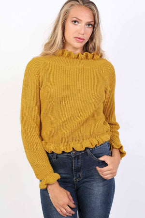 Frill Neck Long Sleeve Knitted Jumper in Mustard Yellow 2