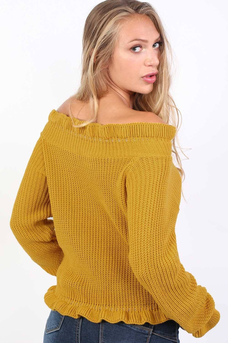 Frill Neck Long Sleeve Knitted Jumper in Mustard Yellow 3