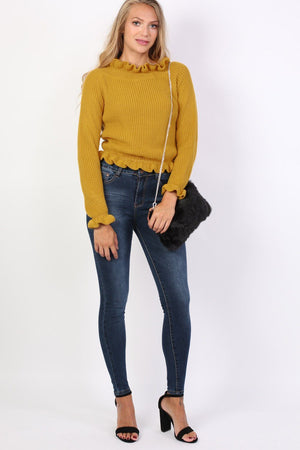 Frill Neck Long Sleeve Knitted Jumper in Mustard Yellow 4
