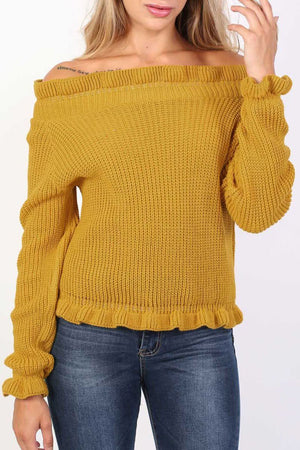 Frill Neck Long Sleeve Knitted Jumper in Mustard Yellow 5