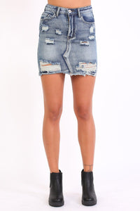 Frayed Hem Ripped Denim Mini Skirt in Denim Blue 1