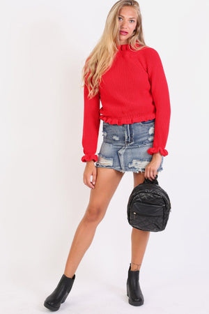 Frayed Hem Ripped Denim Mini Skirt in Denim Blue 4