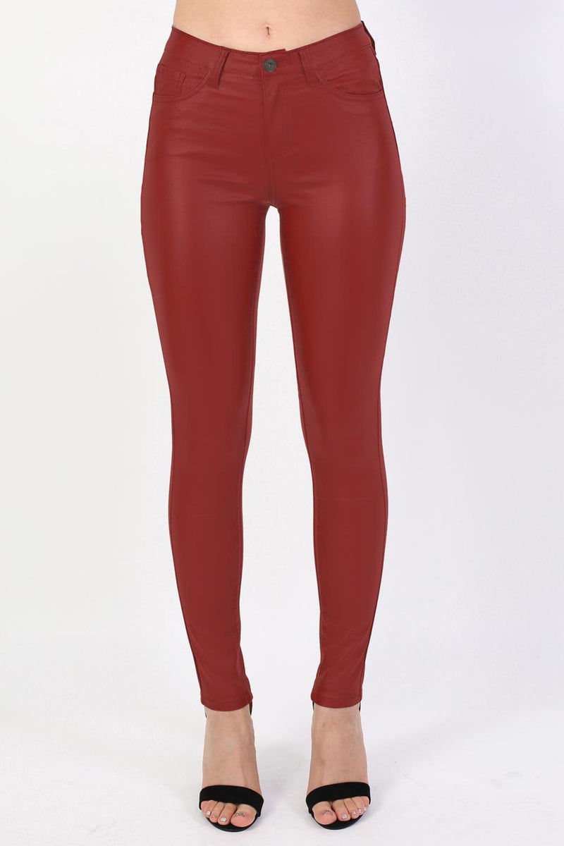 Faux Leather Jean Style Stretchy Skinny Trousers in Red 1