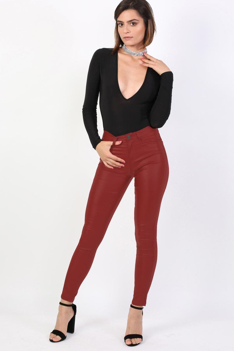 Faux Leather Jean Style Stretchy Skinny Trousers in Red 4