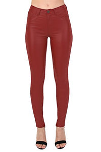 Faux Leather Jean Style Stretchy Skinny Trousers in Red