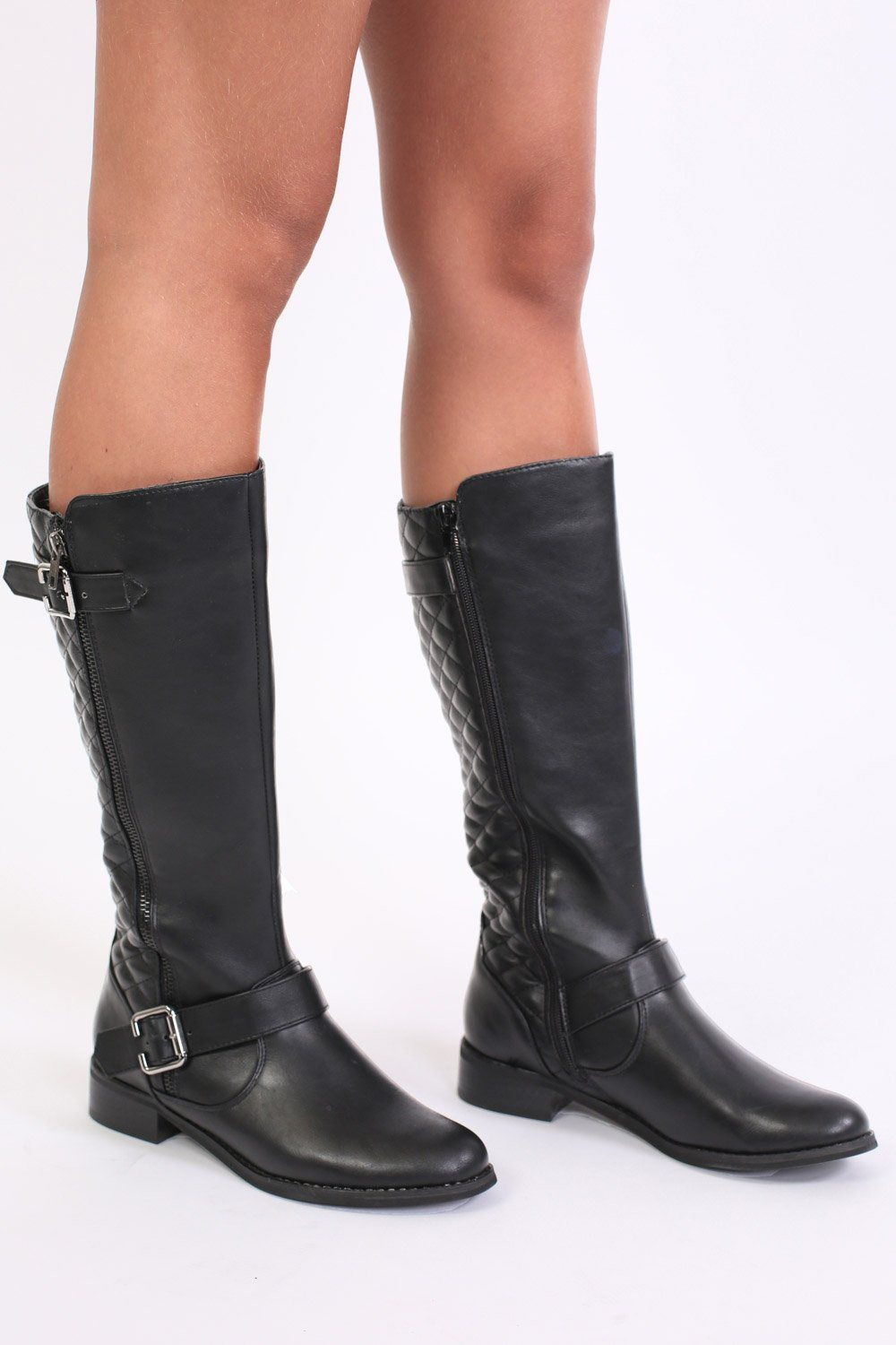 Quilted Double Buckle Flat Knee High Riding Boots in Black 1