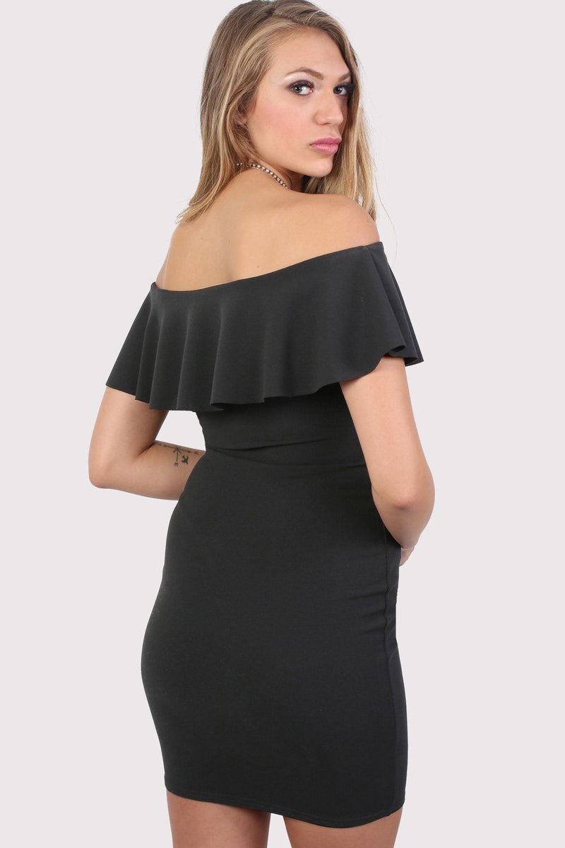 Deep Frill Bardot Bodycon Mini Dress in Black 2