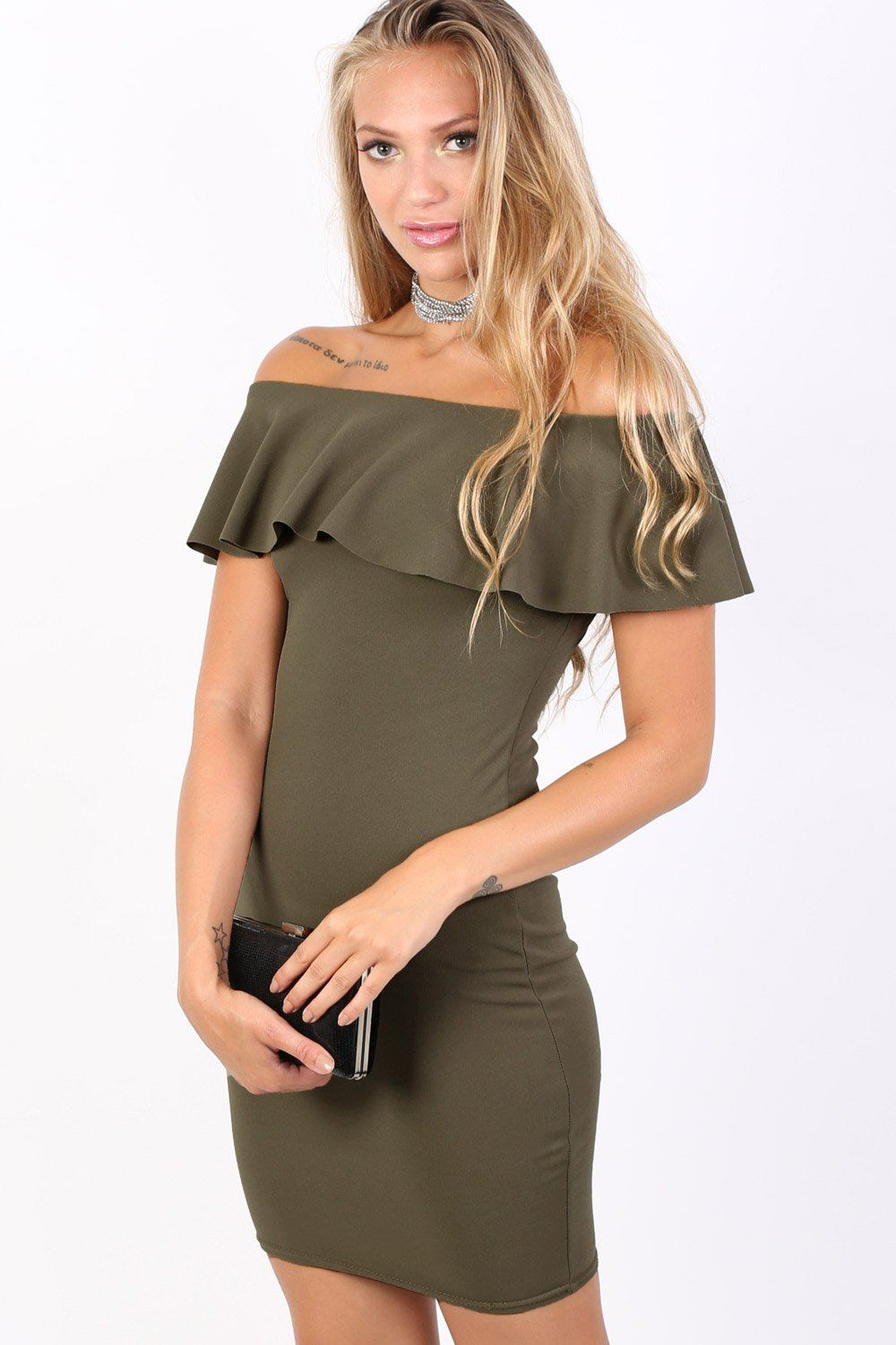 Deep Frill Bardot Bodycon Mini Dress in Khaki Green 1