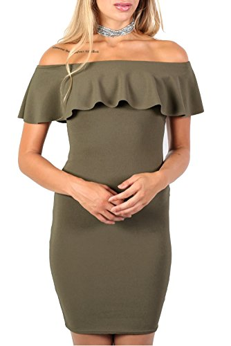 Deep Frill Bardot Bodycon Mini Dress in Khaki Green