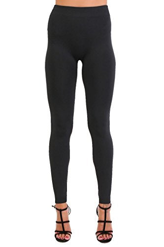 Plain Fleece Long Leggings in Black