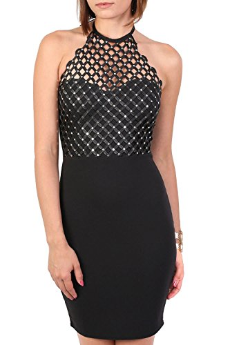 Caged Effect Sequin Detail Halterneck Bodycon Mini Dress in Black