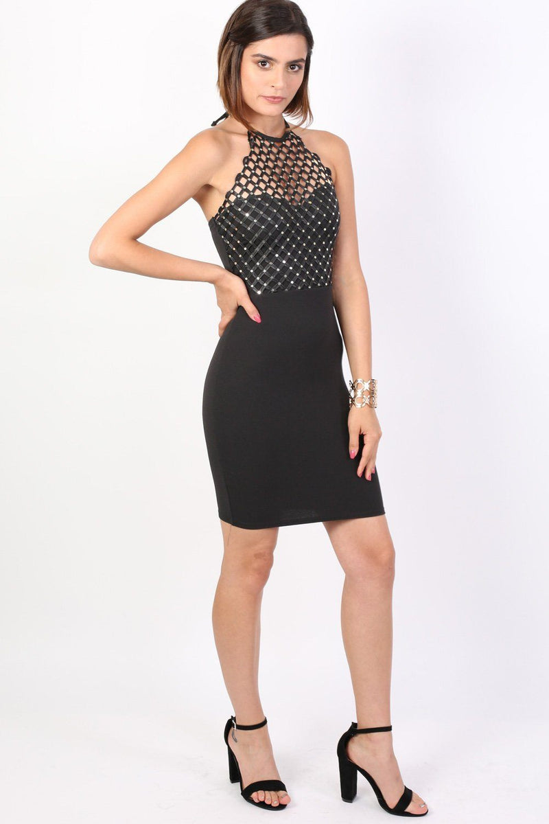 Caged Effect Sequin Detail Halterneck Bodycon Mini Dress in Black 4