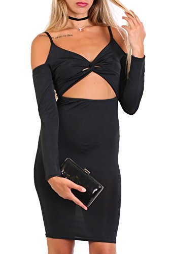 Long Sleeve Cut Out Bodycon Mini Dress in Black