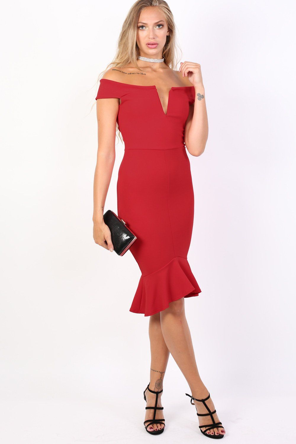 Bardot Frill Hem Bodycon Midi Dress in Red 1