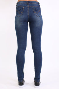 Sandblast Effect Skinny Jeans in Dark Denim 4