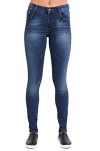 Sandblast Effect Skinny Jeans in Dark Denim