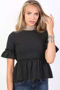 Plain Frill Detail Peplum Top in Black 1