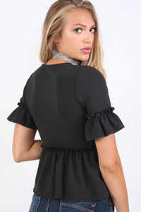 Plain Frill Detail Peplum Top in Black 2
