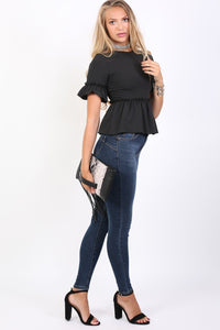 Plain Frill Detail Peplum Top in Black 4
