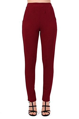 Plain Straight Leg Trousers in Wine Red