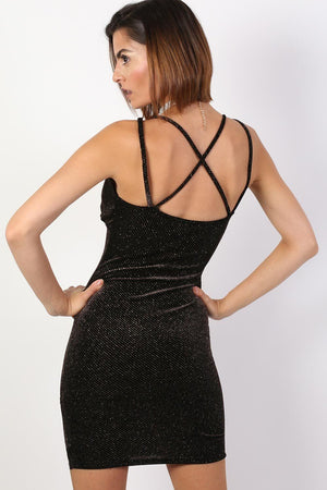 Strappy Velvet Glitter Mini Bodycon Dress in Black 2
