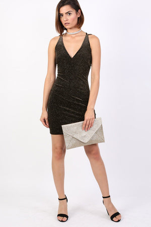 Strappy Velvet Glitter Mini Bodycon Dress in Black 4