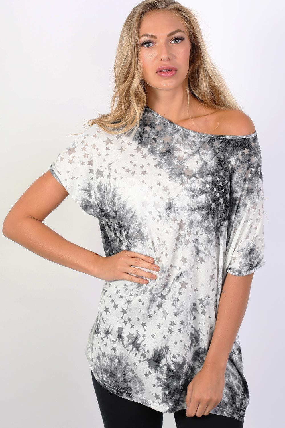 Star Print Burnout Oversized Top in Grey 1