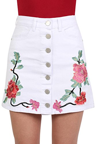 Floral Embroidered Front Button Denim Mini Skirt in White