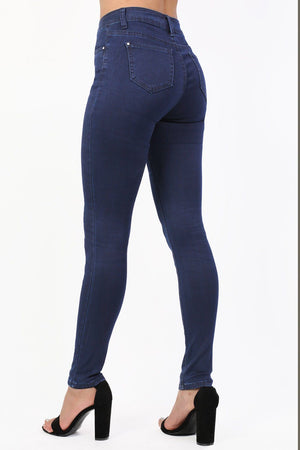 Plain Exposed Zip Skinny Jeans in Dark Denim 2