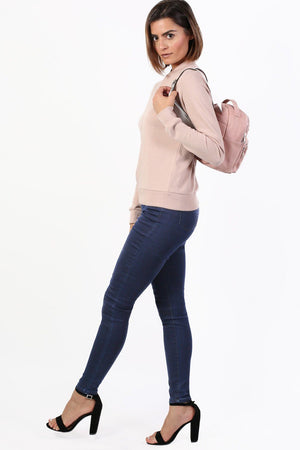 Plain Exposed Zip Skinny Jeans in Dark Denim 4
