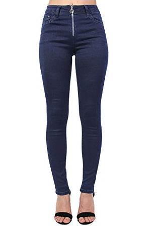 Plain Exposed Zip Skinny Jeans in Dark Denim