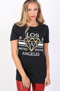 Los Angeles Print Graphic T-Shirt in Black 1