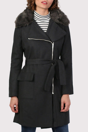 Faux Fur Collar Wool Coat in Black 5