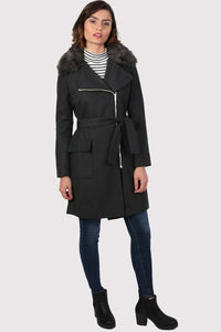 Faux Fur Collar Wool Coat in Black 4