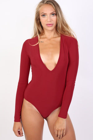Slinky Plunge V Neck Long Sleeve Bodysuit in Red 3