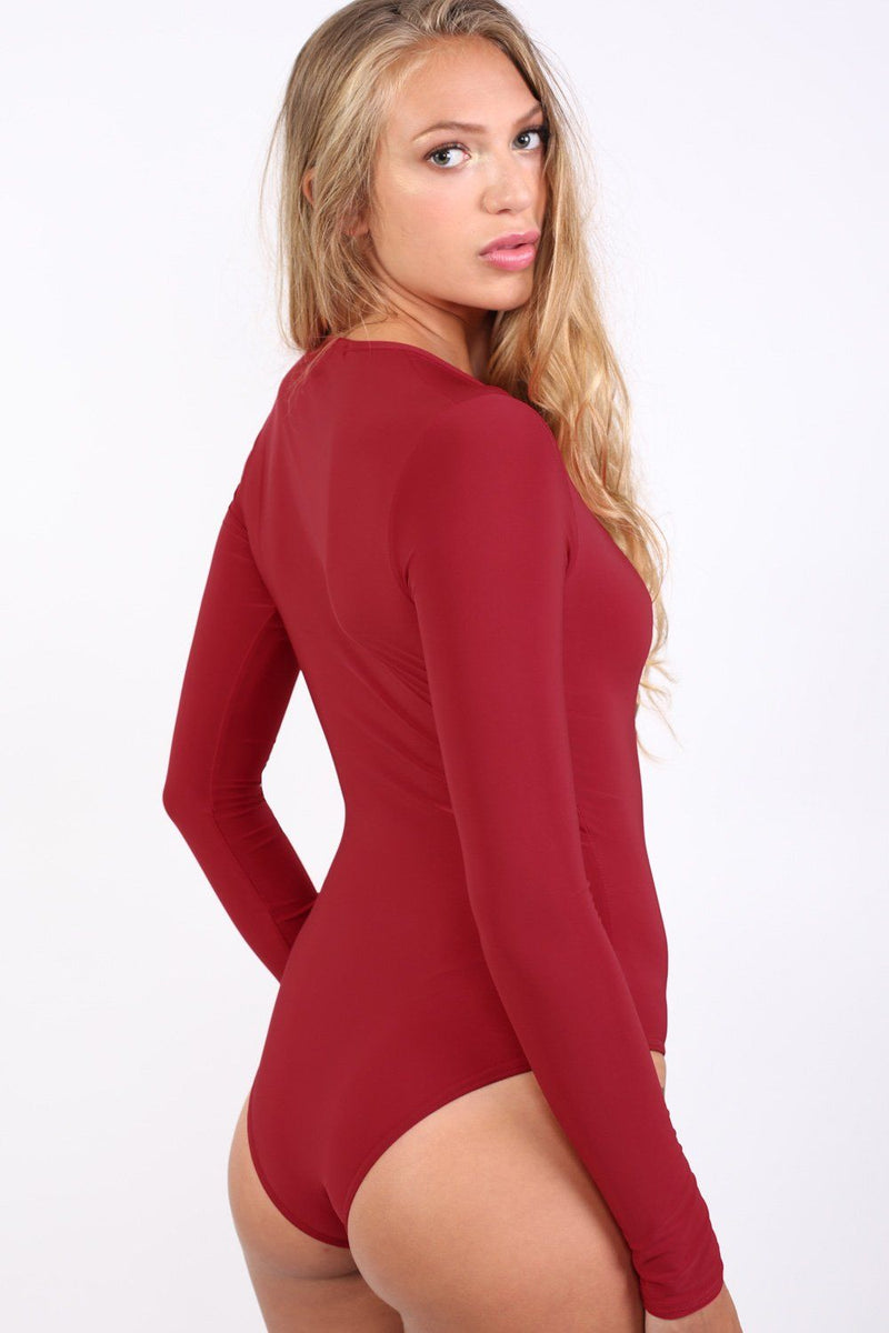 Slinky Plunge V Neck Long Sleeve Bodysuit in Red 4