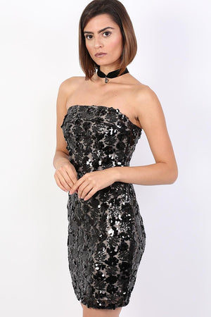 Sequin Bandeau Mini Dress in Black 1