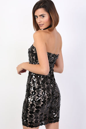 Sequin Bandeau Mini Dress in Black 2
