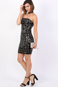 Sequin Bandeau Mini Dress in Black 3