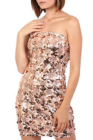 Sequin Bandeau Mini Dress in Gold